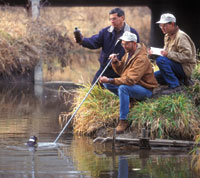 Taking a water sample